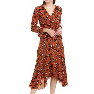 Tahari Animal Print Faux Wrap Georgette Midi Dress
